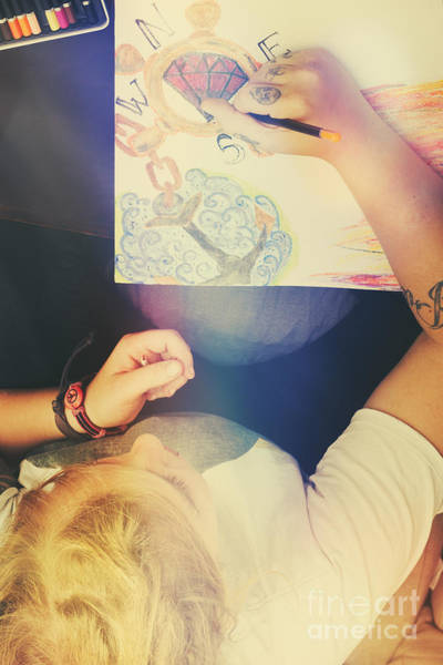Pencil Sketch Photograph - Talented Artist Woman Sketching Out Masterpiece by Jorgo Photography - Wall Art Gallery