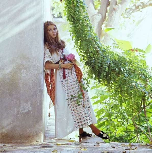 Brunette Photograph - Talitha Getty By Her House In Morocco by Patrick Lichfield