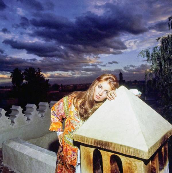 Patio Photograph - Talitha Getty Leaning On Lantern At Sunset by Patrick Lichfield