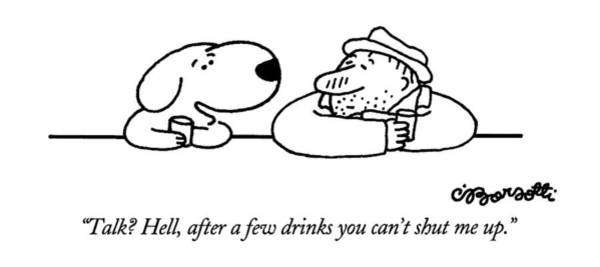 Drink Me Drawing - Talk?  Hell by Charles Barsotti