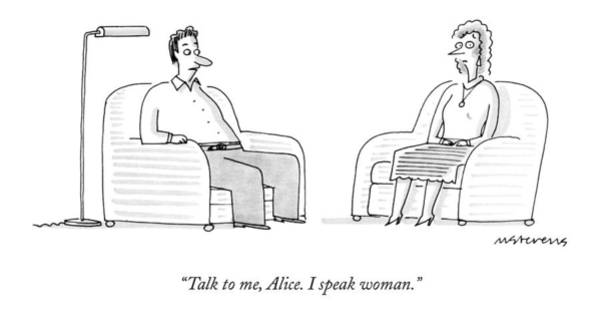 Hall Drawing - Talk To Me, Alice.  I Speak Woman by Mick Stevens