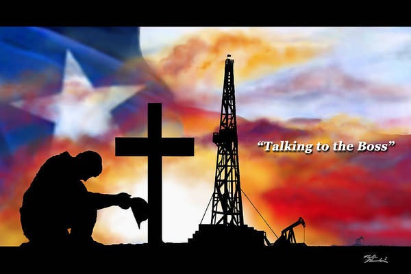 Oilfield Wall Art - Painting - Talking To The Boss  Texas Editon by Nester Hernandez