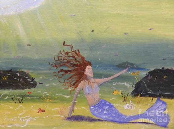 Wall Art - Painting - Talking To The Fishes by Pamela  Meredith