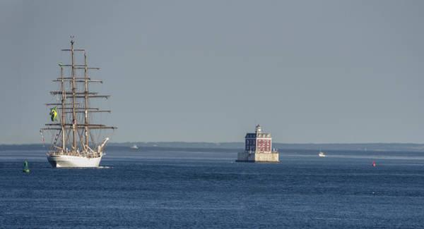 Swan Boats Photograph - Tall Ship Cisne Branco Passes Ledge Light by Marianne Campolongo