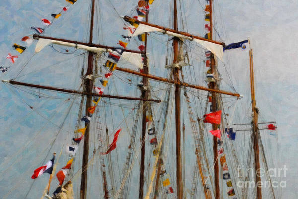 Digital Art - Tall Ship Flags Flying by Dale Powell