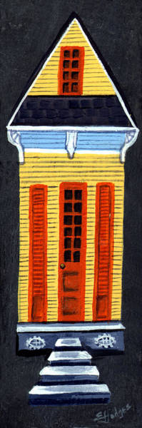 Slate Painting - Tall Shotgun House by Elaine Hodges