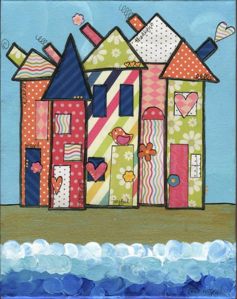 Beach Collage Painting - Tall Town By The Tide by Alli Rogosich