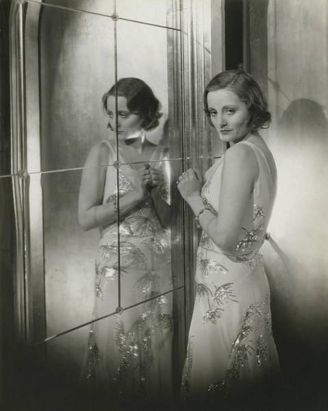Mirror Photograph - Tallulah Bankhead In A Chiffon Dress by Cecil Beaton