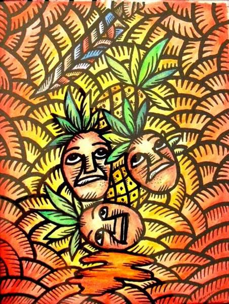 Painting - Talupan Ang Pinya Peel The Pineapples by Marconi Calindas