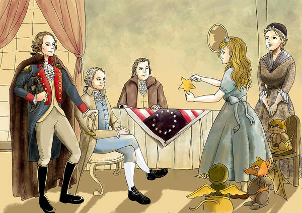 Painting - Tammy Meets Betsy Ross And George Washington by Reynold Jay