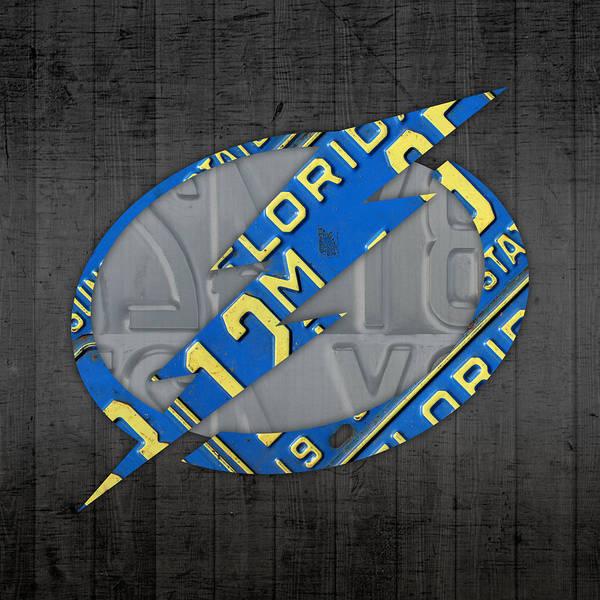 Retro Mixed Media - Tampa Bay Lightning Retro Hockey Team Logo Recycled Florida License Plate Art by Design Turnpike