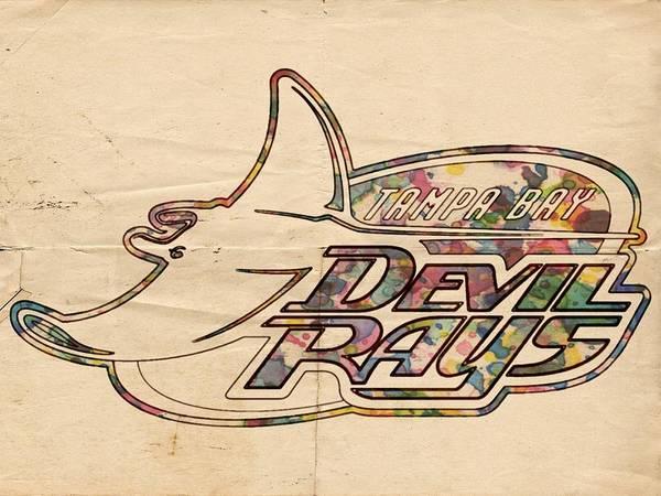 Painting - Tampa Bay Rays Vintage Logo by Florian Rodarte