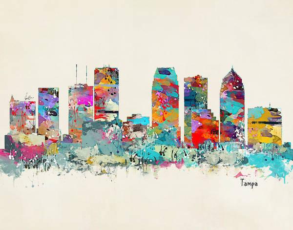 Tampa Digital Art - Tampa Florida Skyline by Bri Buckley