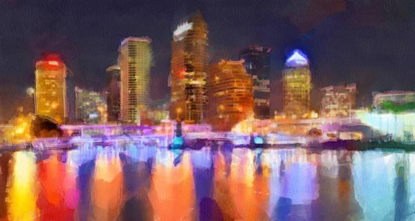 Tampa Digital Art - Tampa Skyline At Night by Yury Malkov