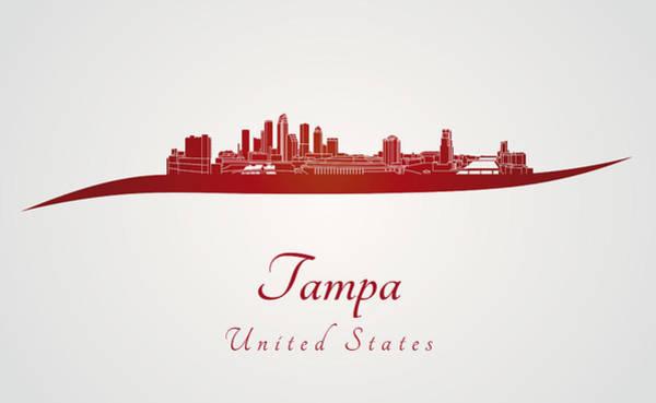 Tampa Digital Art - Tampa Skyline In Red by Pablo Romero