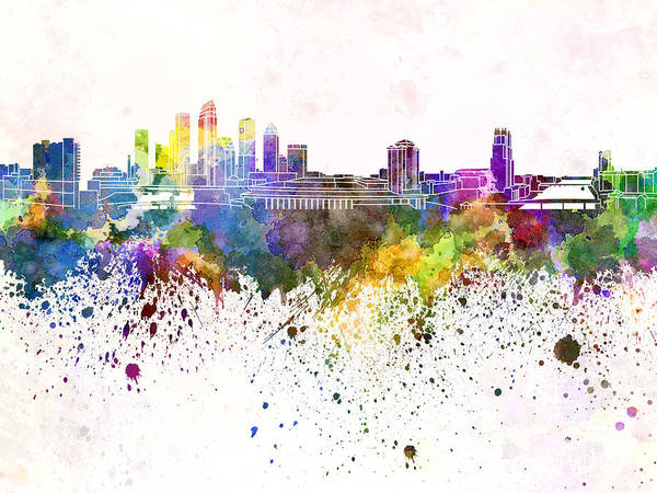 Tampa Digital Art - Tampa Skyline In Watercolor Background by Pablo Romero