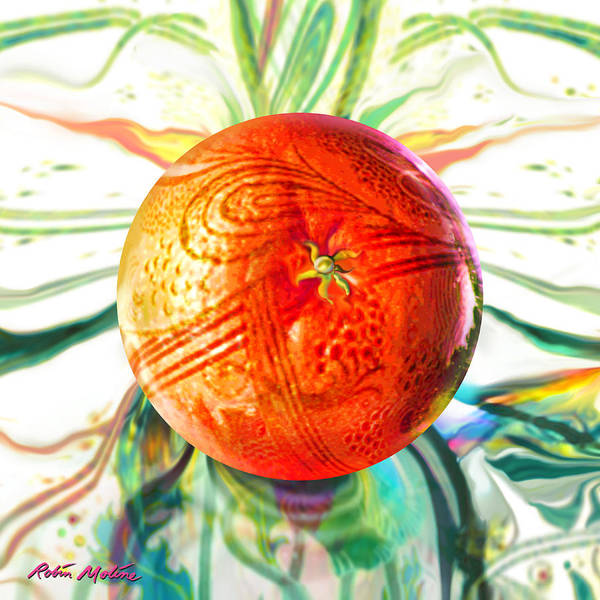 Wall Art - Painting - Tangerine Orb Nouveau by Robin Moline