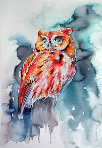 Owl Painting - Tangerine Owl  by Kovacs Anna Brigitta
