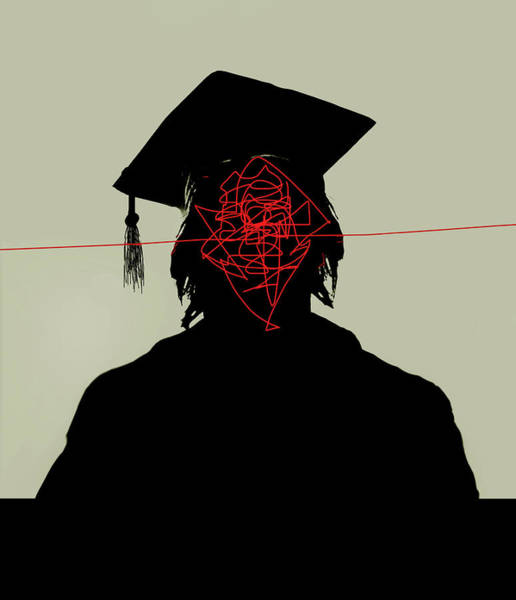 Wall Art - Photograph - Tangled Lines Inside Of Graduates Head by Ikon Images