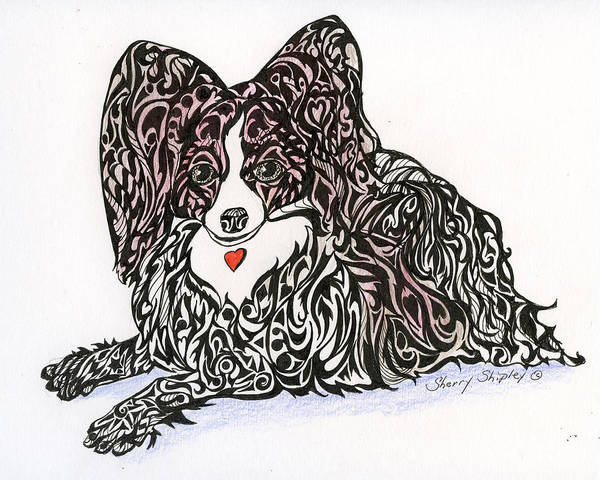 Drawing - Tangled Papillon by Sherry Shipley