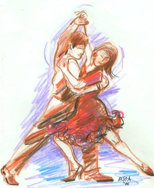 Tango Drawing - Tango Dancers by Mary Armstrong