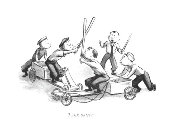 Imagination Drawing - Tank Battle by William Steig