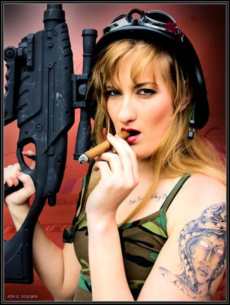 Photograph - Tank Girl Smoking by Jon Volden