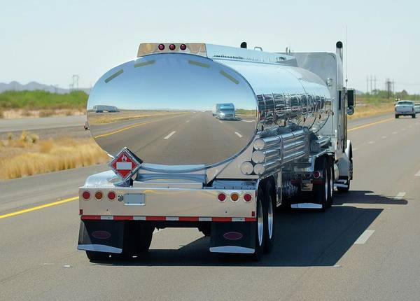 Flammable Photograph - Tanker On The Road by Ktsdesign/science Photo Library