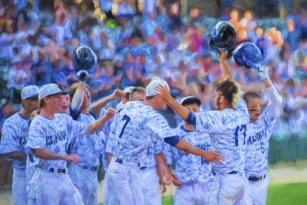 College Baseball Photograph - Tanner Tully Elkhart Central Blazers Celebrate His Home Run by David Haskett II