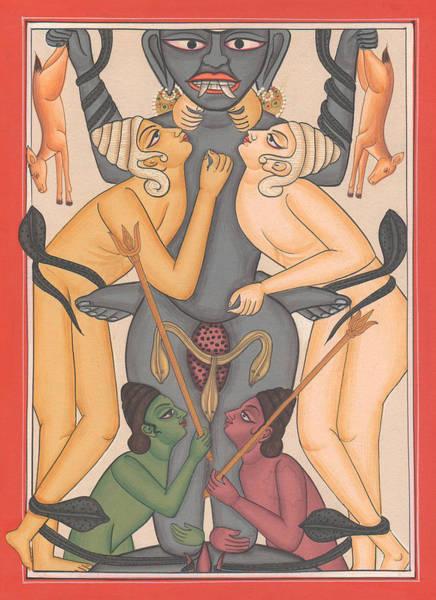Wall Art - Painting - Tantra Yantra Tantric Tantrik Miniature Painting Artwork Painting Yaga Yogi India  by A K Mundhra
