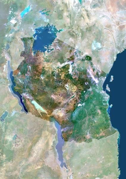 Landsat 7 Wall Art - Photograph - Tanzania by Planetobserver/science Photo Library