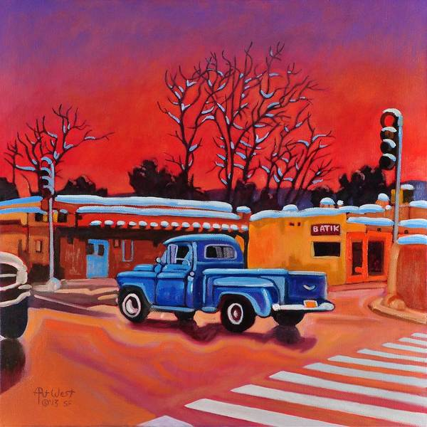 Painting - Taos Blue Truck At Dusk by Art West