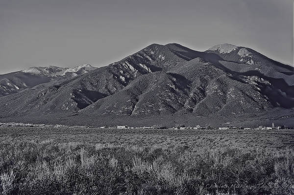 Photograph - Taos In Black And White II by Charles Muhle