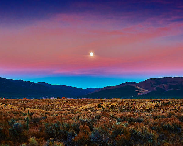 Photograph - Taos Moon by Charles Muhle
