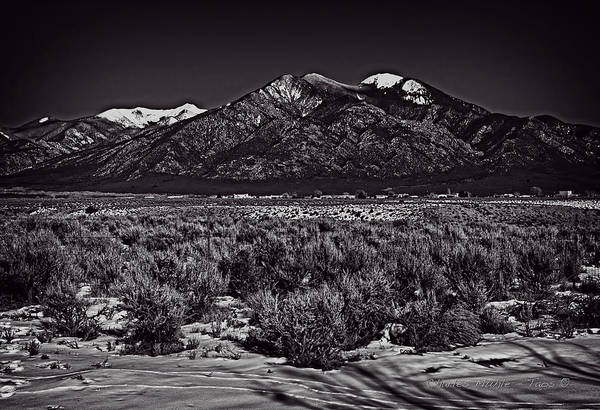 Photograph - Taos Mountain In Black And White by Charles Muhle