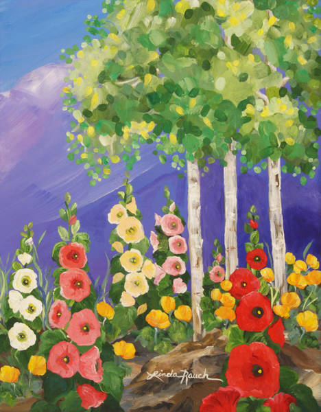 Painting - Taos Summer Garden by Linda Rauch