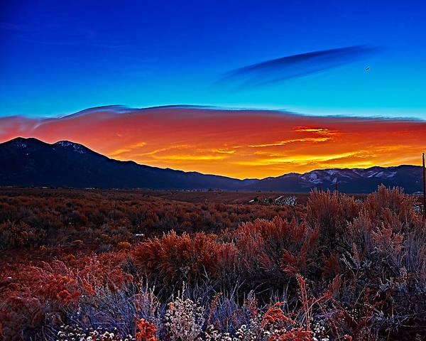 Photograph - Taos Sunrise X by Charles Muhle