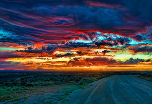 Mixed Media - Taos Sunset Iv by Charles Muhle