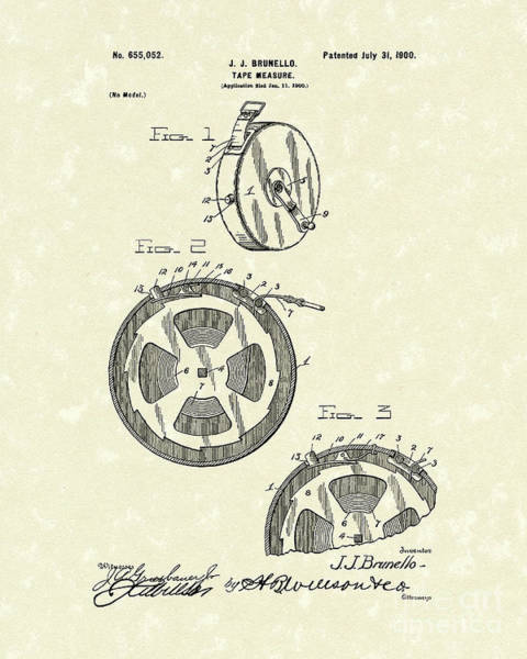 Measure Wall Art - Drawing - Tape Measure 1900 Patent Art by Prior Art Design