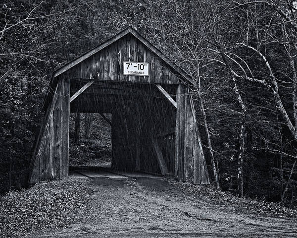 Photograph - Tappan Covered Bridge Bw by Joan Carroll