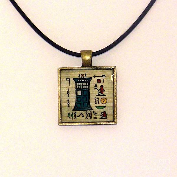 Painting - Tardis Faux Artifact Miniature Painting On Papyrus Mounted In Pendant by Pet Serrano