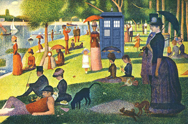 Sunday Afternoon Wall Art - Painting - Tardis V Georges Seurat by GP Abrajano
