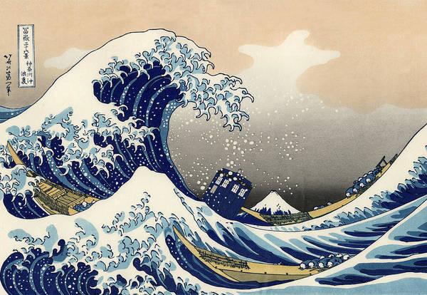 Homage Wall Art - Painting - Tardis V Katsushika Hokusai by GP Abrajano