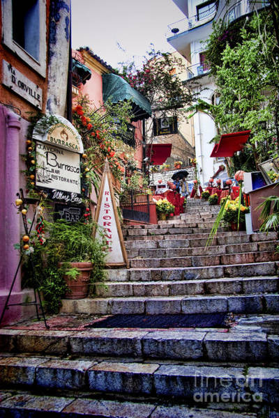 Small Town Photograph - Taormina Steps Sicily by David Smith