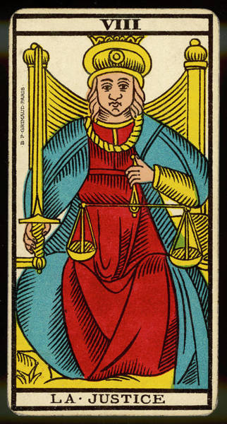 Wall Art - Drawing - Tarot Card 8 - La Justice (justice) by Mary Evans Picture Library
