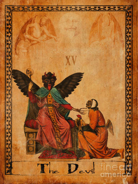 Wall Art - Painting - Tarot Card The Devil by Cinema Photography