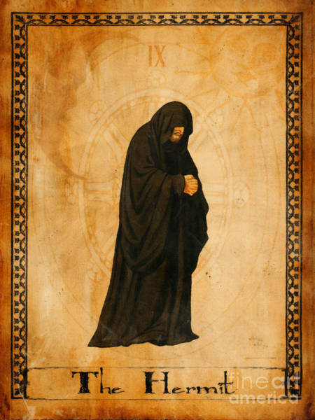 Wall Art - Painting - Tarot Card The Hermit by Cinema Photography