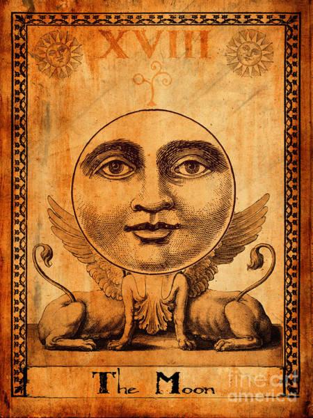 Wall Art - Painting - Tarot Card The Moon by Cinema Photography