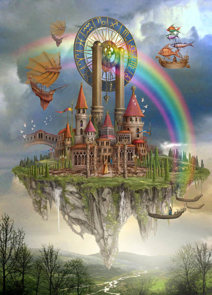 Hot Air Balloon Digital Art - Tarot Town by MGL Meiklejohn Graphics Licensing
