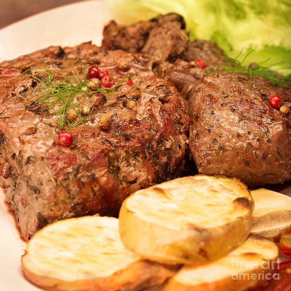 Barbeque Photograph - Tasty Grilled Meat by Anna Om